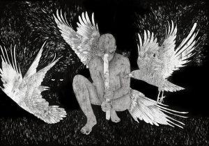 Moran Kliger. Untitled (Premeditation), 70x100 cm, oil and ink on paper, 2019. Photo: Guy Tubul