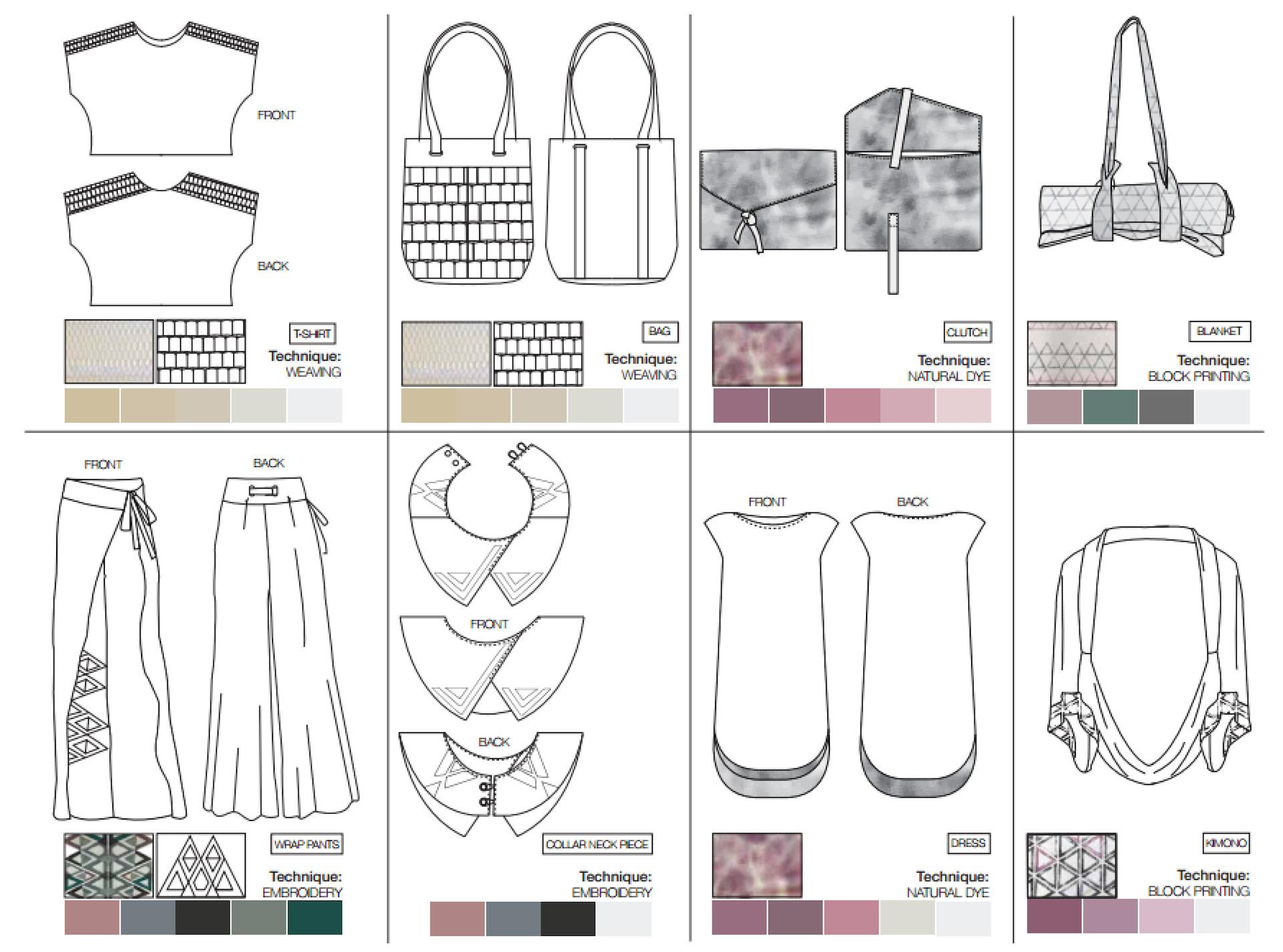 Flat drawings של כל הקולקציה, 2018. עיצוב: דניאל קלר אבירם