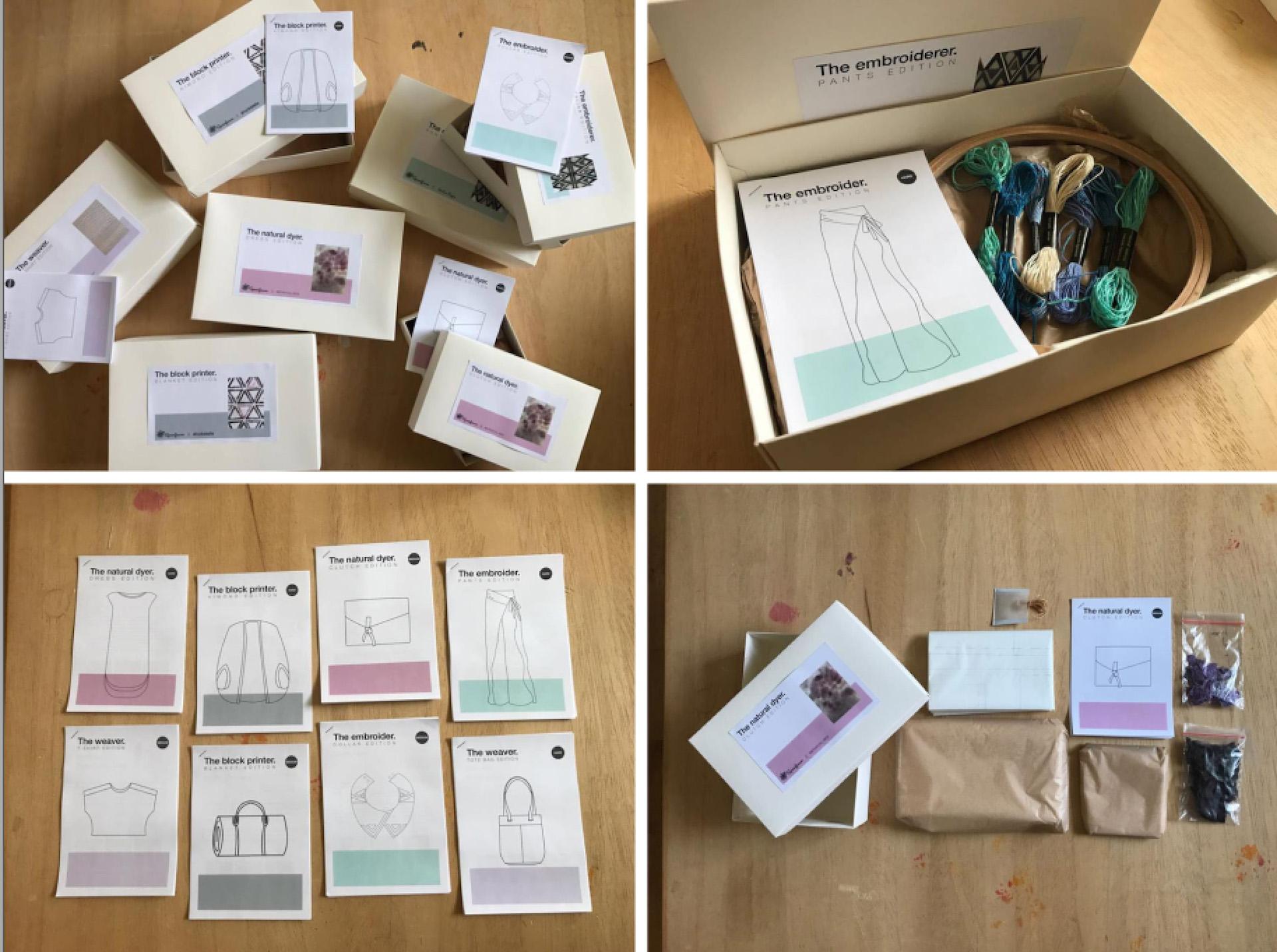 קופסאות ה-DIY שיצרנו לפריטים שעיצבנו, 2018. עיצוב: דניאל קלר אבירם