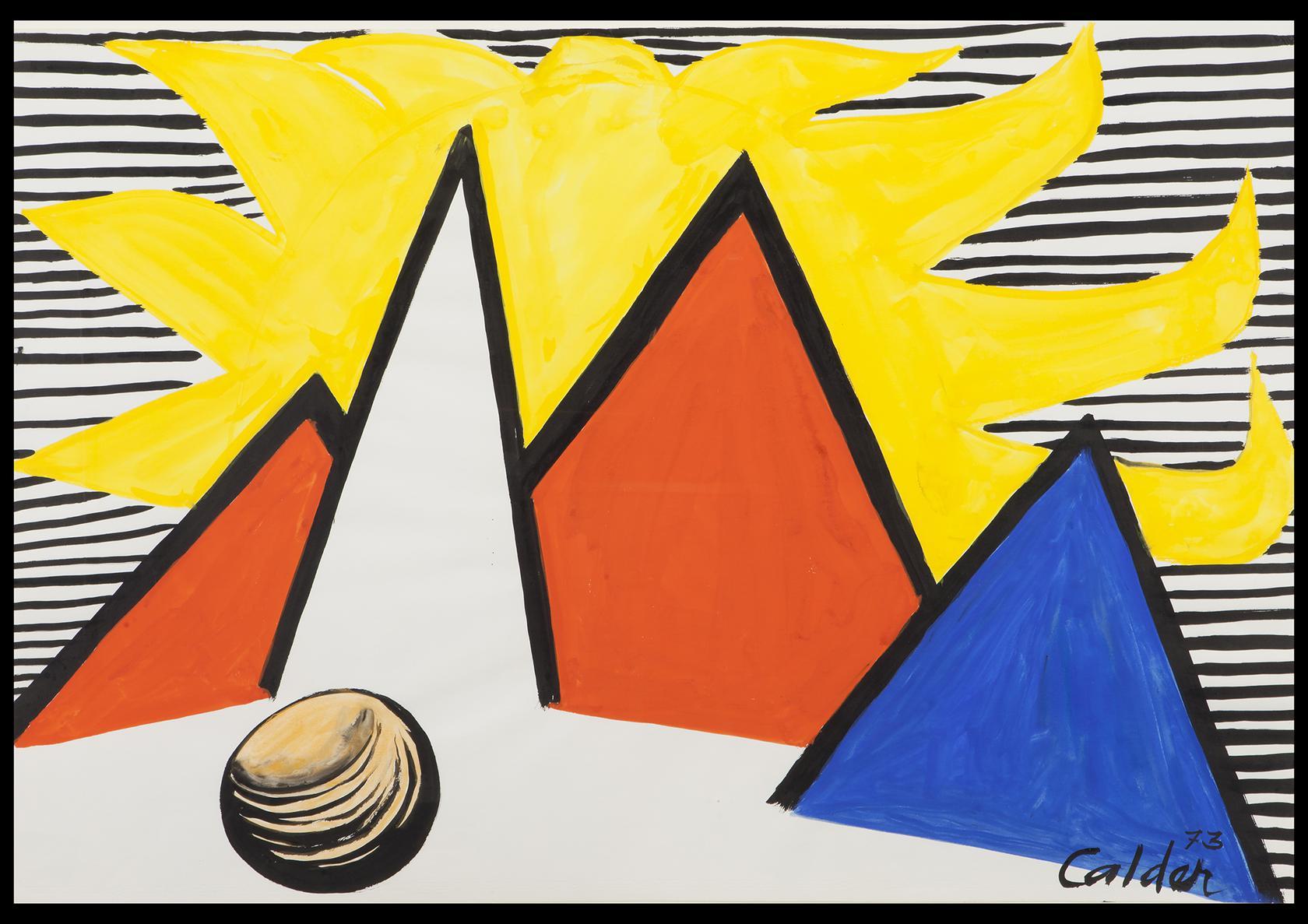 """אלכסנדר קאלדר, שמש גדולה צהובה, 1973 גואש ודיו על נייר, 109.5×74.6 ס""""מ"""